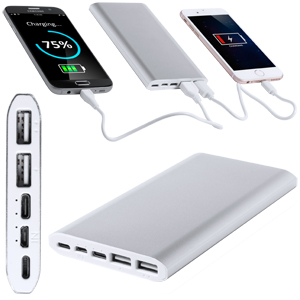 POWER BANK IN METALLO 10000 MAH 4 PORTE