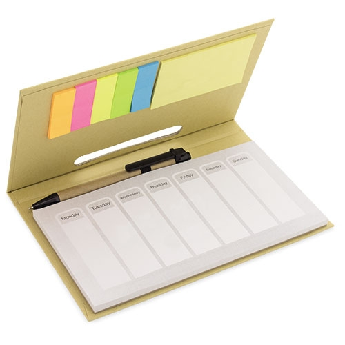 planning in cartone con post-it e penna